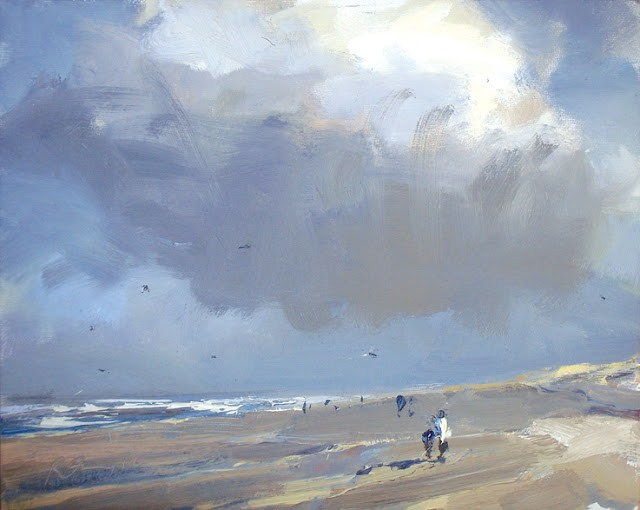 """Seascape winter #22 Cloud, sunny cold beach"" original fine art by Roos Schuring"