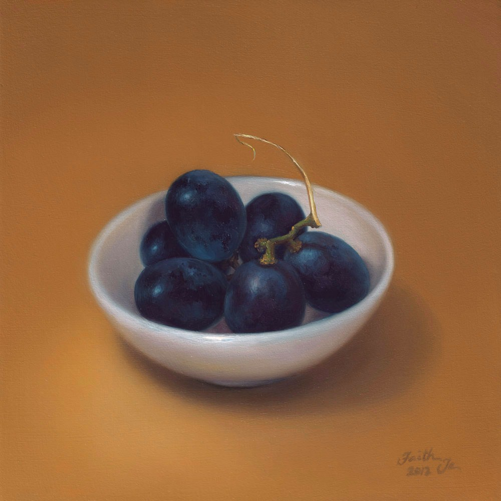 """Black Grapes in White Bowl"" original fine art by Faith Te"
