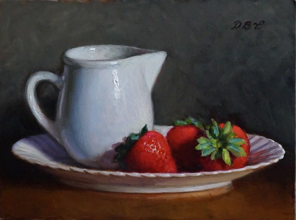 """Strawberries and Creamer"" original fine art by Debra Becks Cooper"