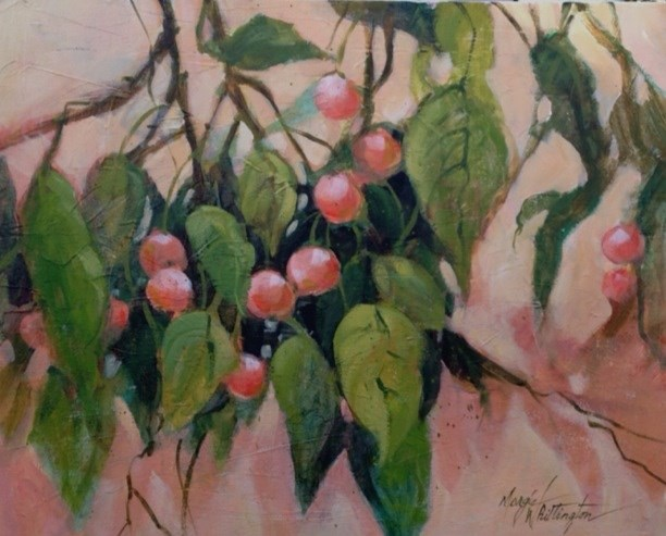 """Persimmons"" original fine art by Margie Whittington"