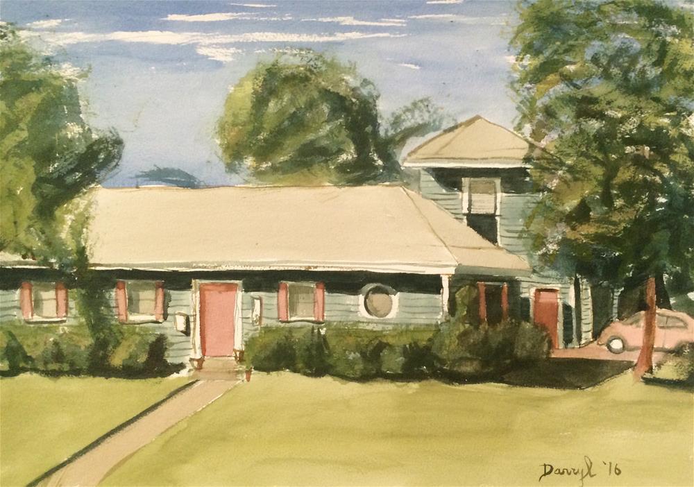"""House with a Round Window"" original fine art by Darryl Freeman"