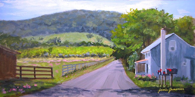 """Red Mailbox Flags on a Country Road"" original fine art by Jamie Williams Grossman"