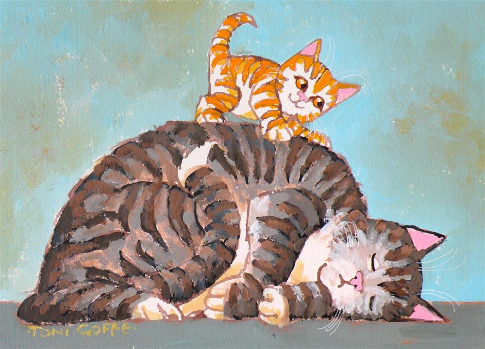 """Wake Up and play with Me!"" original fine art by Toni Goffe"