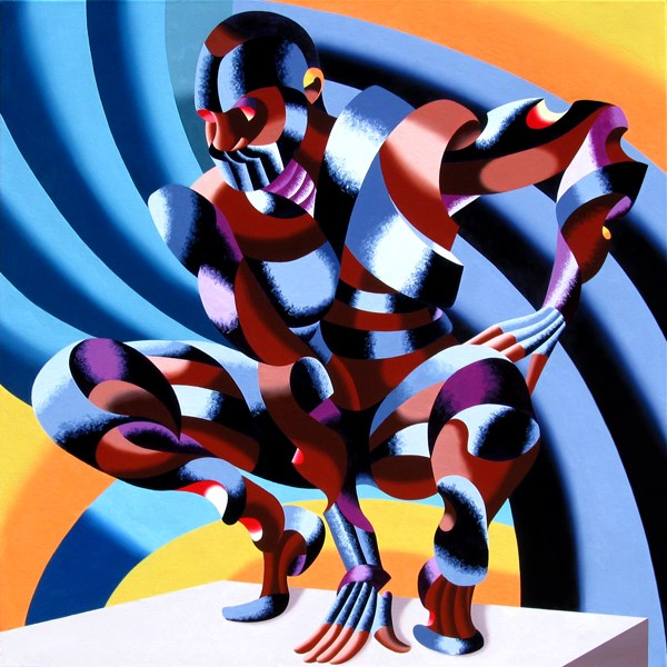 """Mark Adam Webster - Edison - Abstract Geometric Futurist Figurative Oil Painting"" original fine art by Mark Webster"
