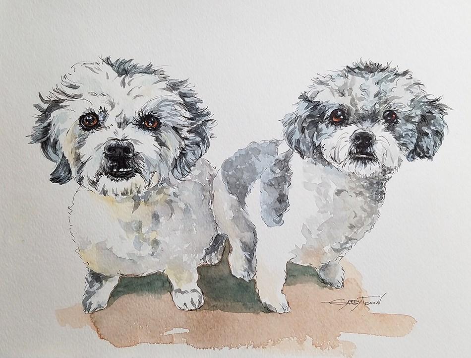 """""""Dogs"""" original fine art by Gabriella DeLamater"""