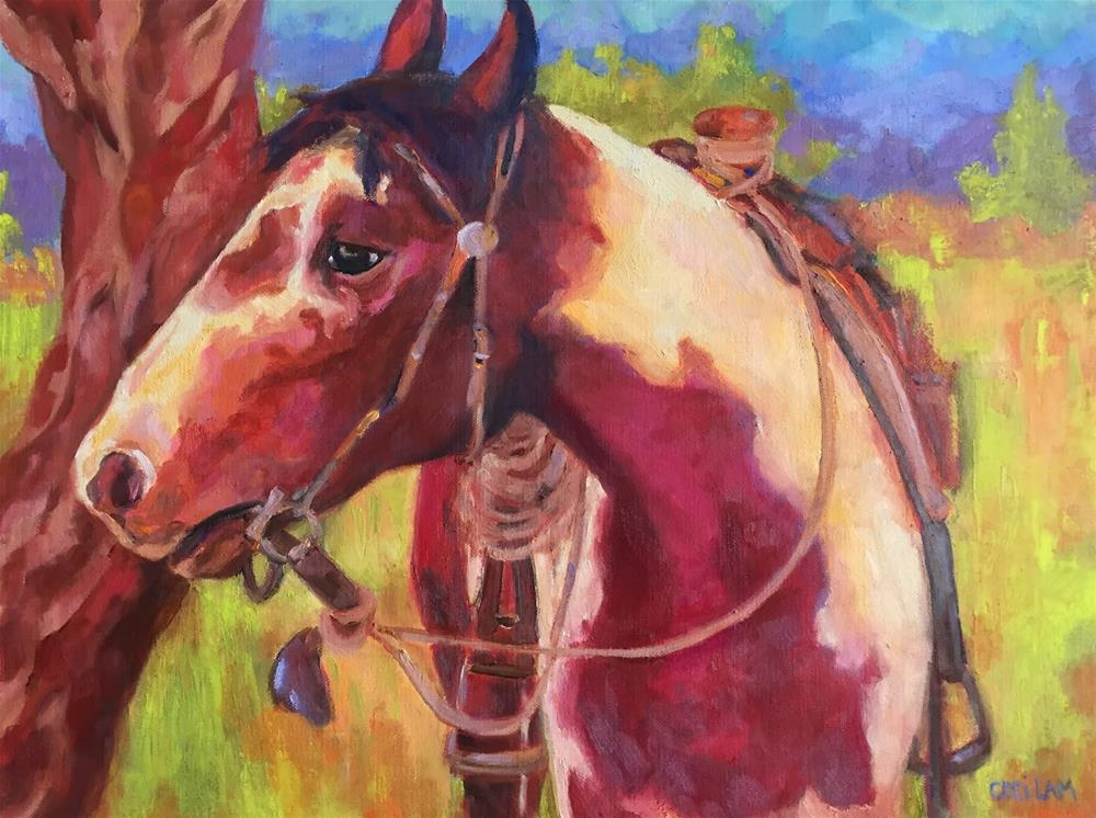 """""""To Ride An Old Paint 18 x 24, oil and cold wax on deep canvas"""" original fine art by Ceci Lam"""