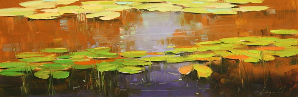 """WATERLILIES OIL PAINTING ON CANVAS"" original fine art by V Yeremyan"