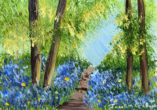 """Bluebell Path 2 ACEO"" original fine art by Janet Graham"