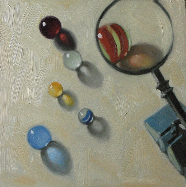 """Inspecting my marbles 6x6 oil"" original fine art by Claudia Hammer"