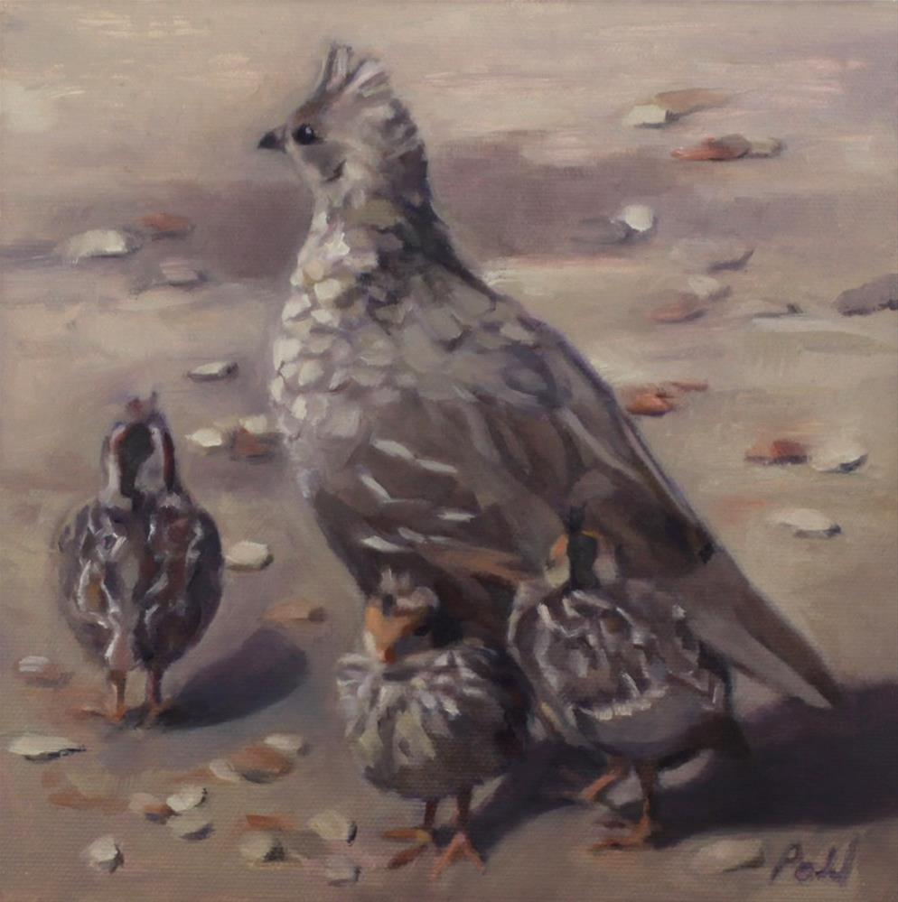 """Quail With Chicks (framed)"" original fine art by Pamela Poll"