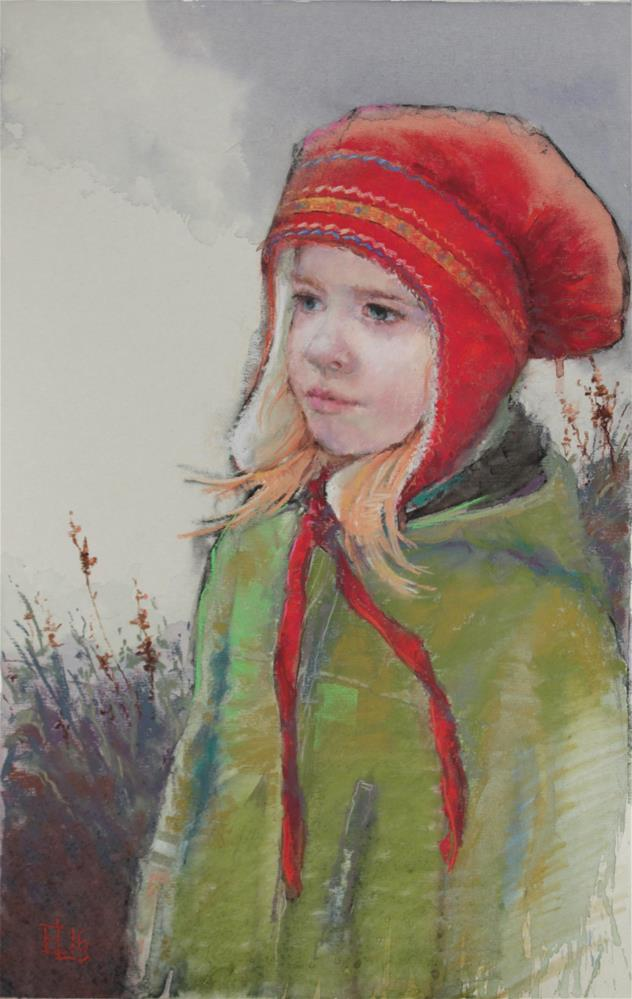 """Girl Wearing a Lapp Bonnet"" original fine art by Emilia Leinonen"