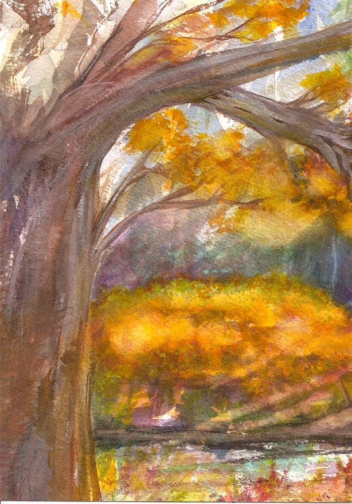 """5x7 Trees -1 Landscape Sunlight Shadows Fall Colors Loose Watercolor Penny StewArt"" original fine art by Penny Lee StewArt"