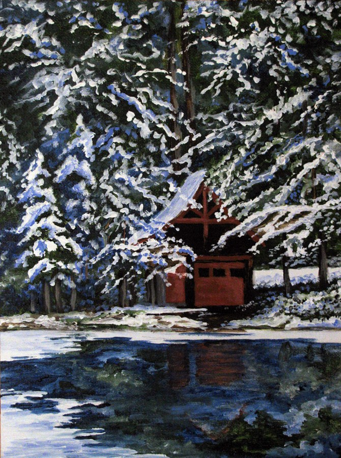 """Winter Cabin"" original fine art by Nan Johnson"