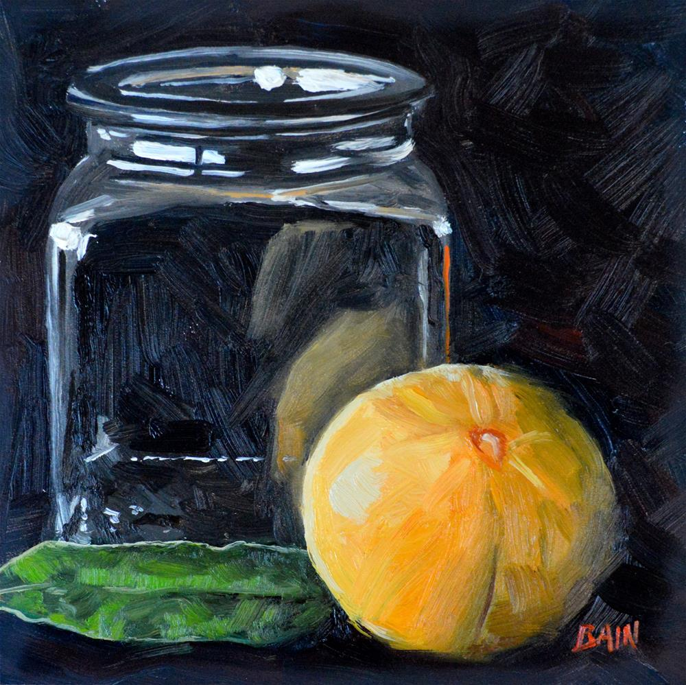 """Orange, Leaf, & Jar"" original fine art by Peter Bain"