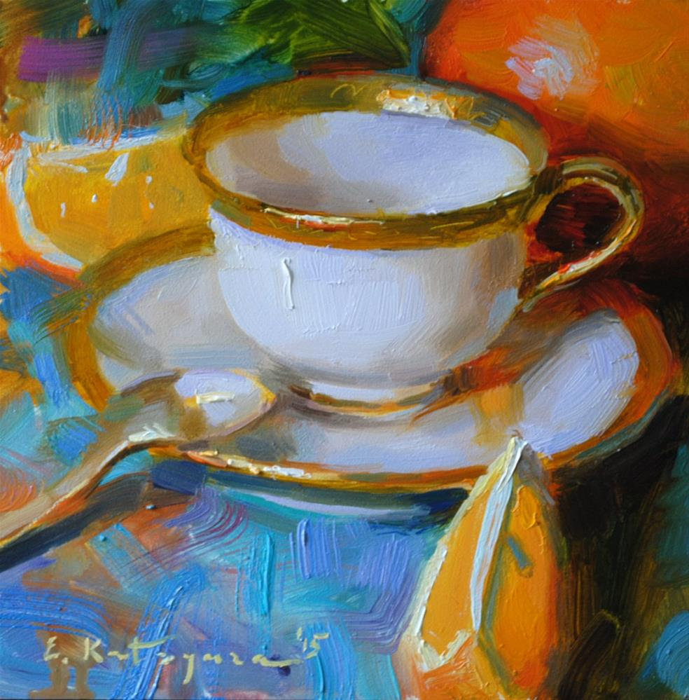 """Gold and Orange (Sold)"" original fine art by Elena Katsyura"