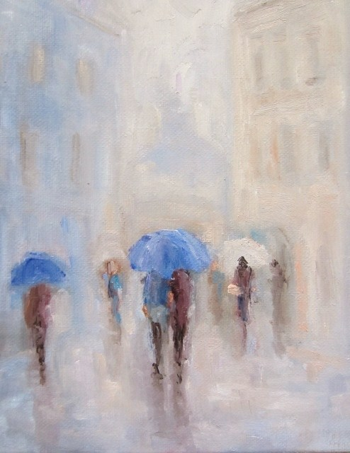 """Kissing in the rain"" original fine art by Astrid Buchhammer"