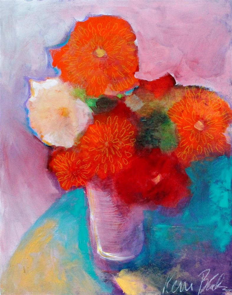 """Marigolds and Morning Glory "" original fine art by Kerri Blackman"