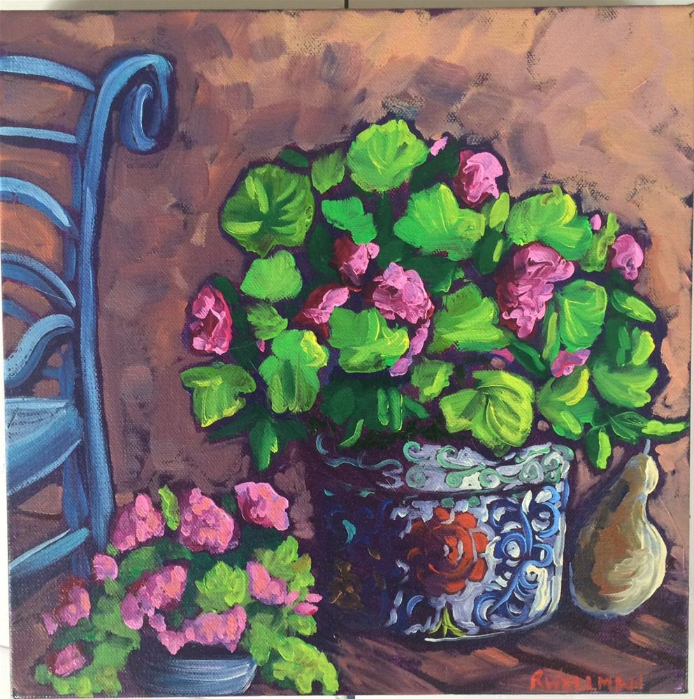 """Geraniums on a porch"" original fine art by Robyn Wellman"