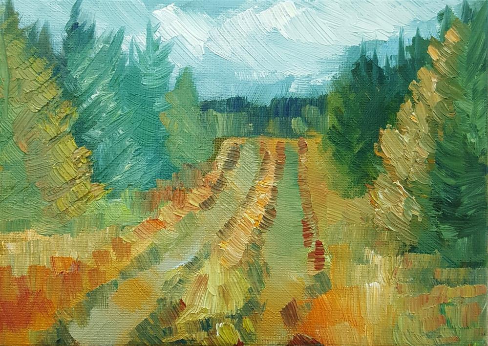 """Path With Pines, Autumn"" original fine art by J M Needham"