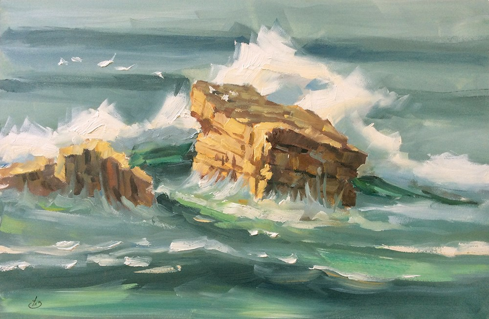 """GULL ROCK"" original fine art by Tom Brown"