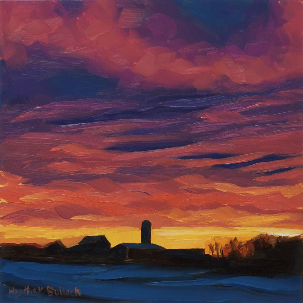 """Sunset with Farm"" original fine art by Heather Bullach"