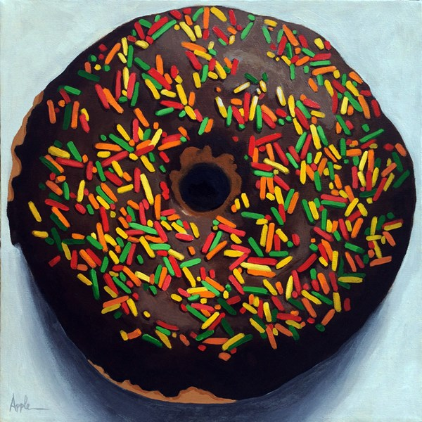"""Photo realistic chocolate DONUT w/ sprinkles original food painting"" original fine art by Linda Apple"