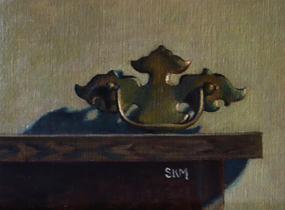"""Salvage:  antique drawer pull"" original fine art by Sarah Meredith"