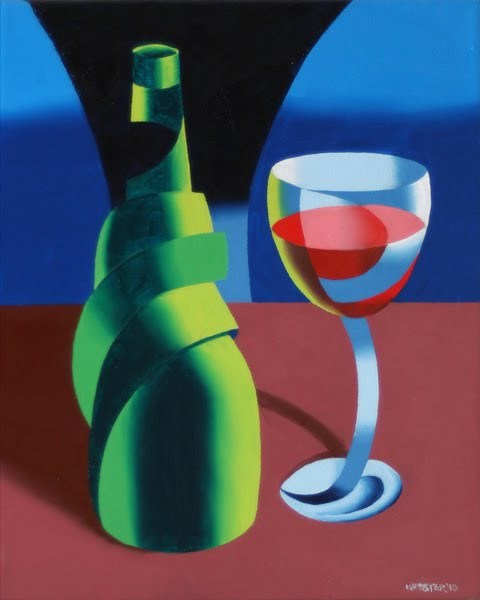 """Mark Webster - Abstract Wine Bottle and Glass Still Life Oil Painting"" original fine art by Mark Webster"