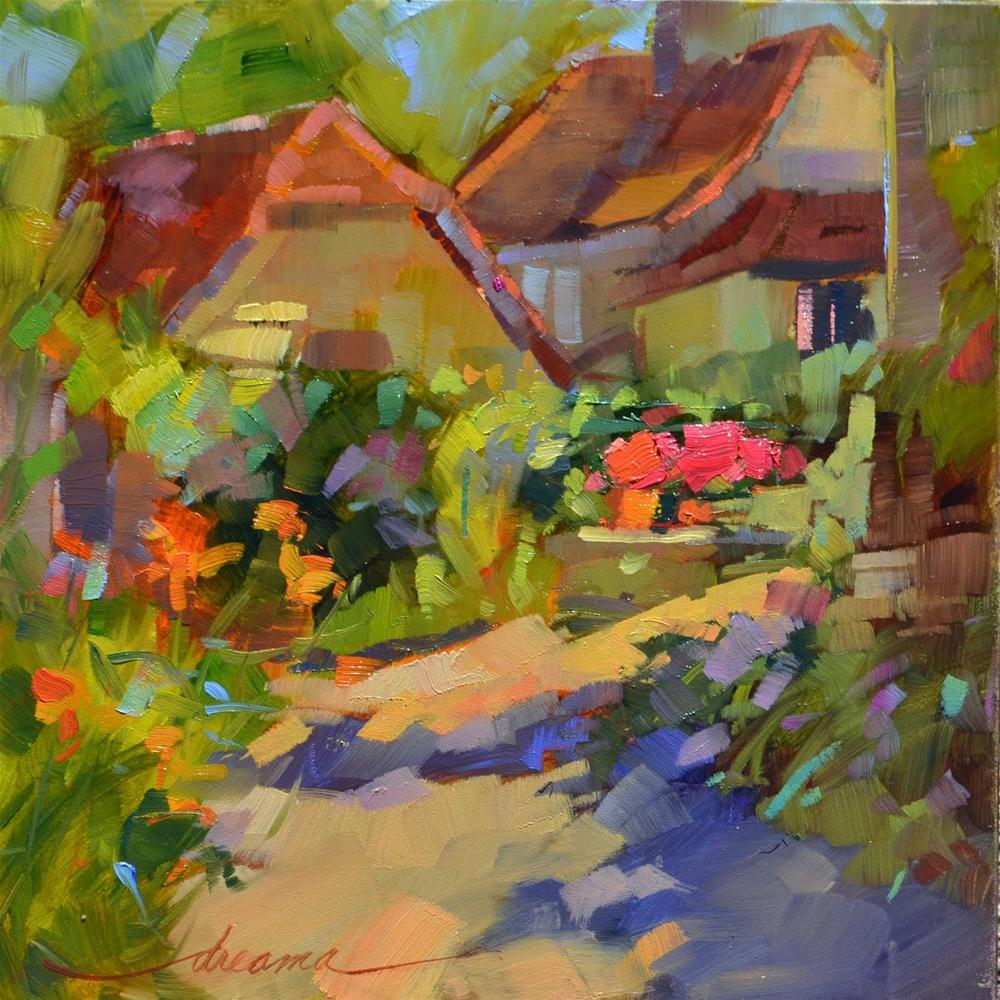 """Morning Glow in the Village"" original fine art by Dreama Tolle Perry"