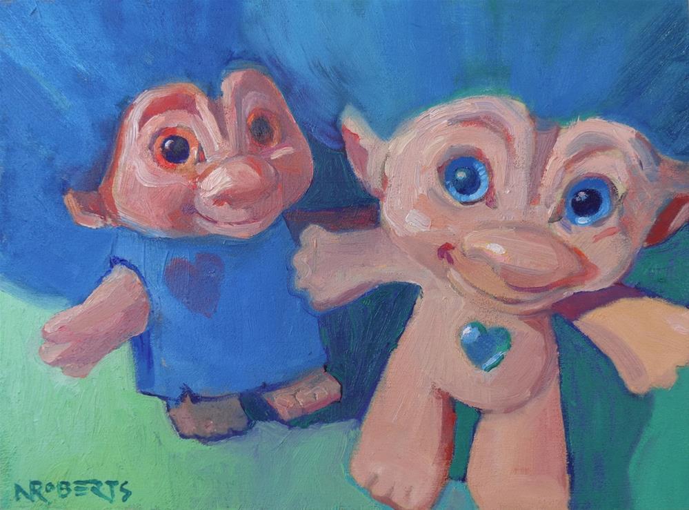 """""""Trolls Selfie"""" original fine art by Nancy Roberts"""