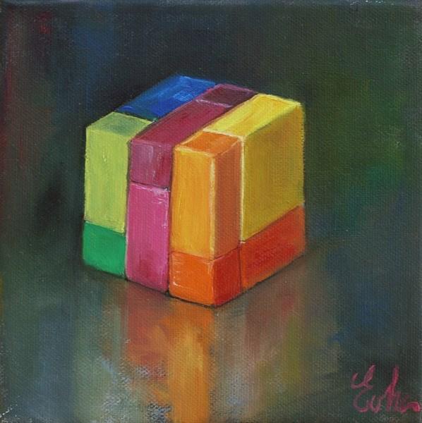 """Cube de couleurs"" original fine art by Evelyne Heimburger Evhe"