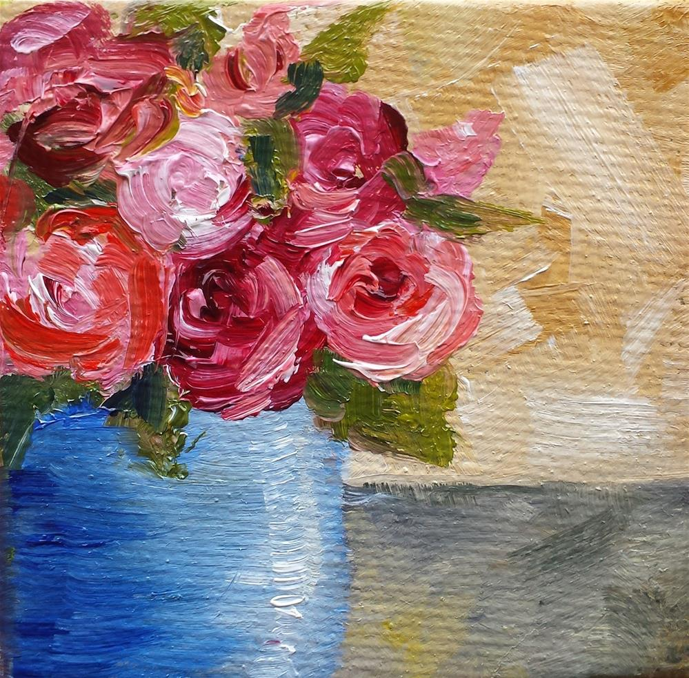 """Roses in a Blue Pot"" original fine art by Jodi Workman"