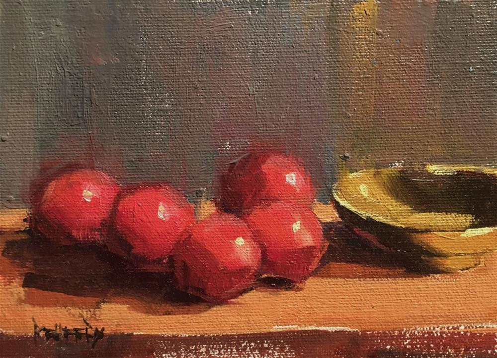 """Plums and Asian Bowl"" original fine art by Cathleen Rehfeld"