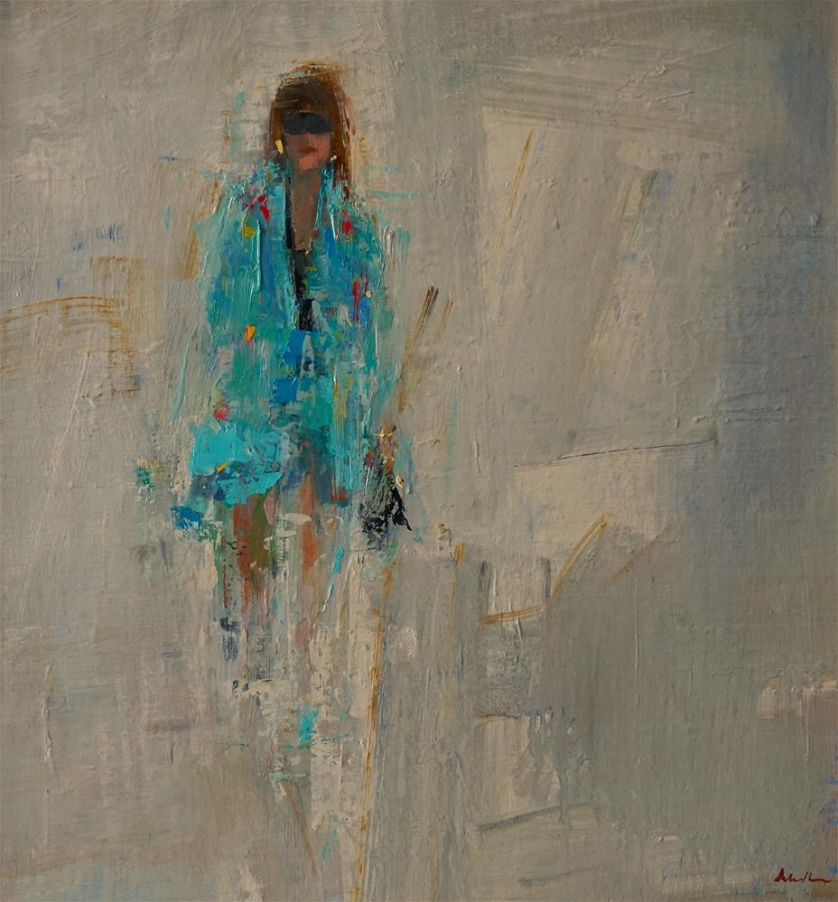 """Girl With Black Shoes 15x15 oil"" original fine art by Deborah R Hill"