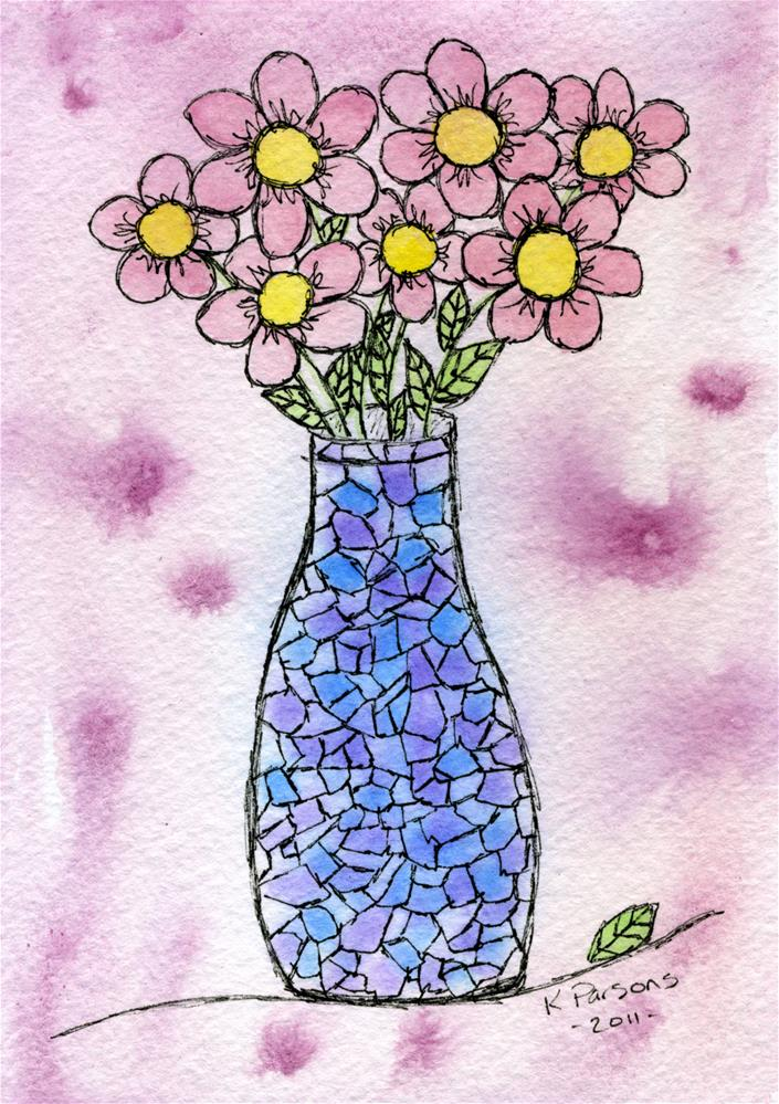 """Bouquet in a Mosaic Vase"" original fine art by Kali Parsons"