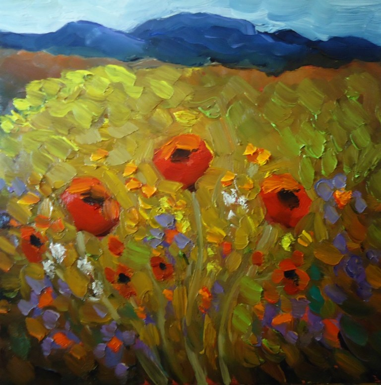 """141 POPPY TRIO painting five of my 145 day Challenge"" original fine art by Dee Sanchez"