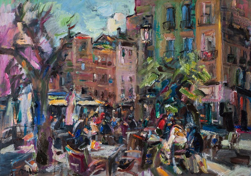 """Street Cafe on the Square in Granada"" original fine art by Anna  Fine Art"