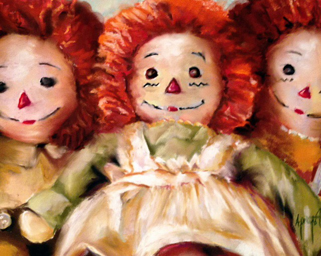 """Raggedy Annies"" original fine art by Anne Marie Propst"