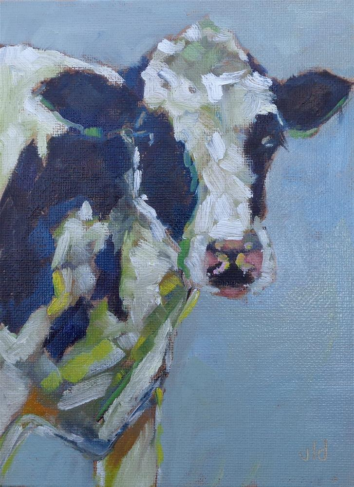 """""""Cow 52 Being Nosey"""" original fine art by Jean Delaney"""