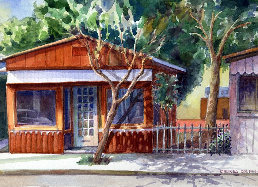 """Watercolor painting – Orange Storefront"" original fine art by Belinda Del Pesco"