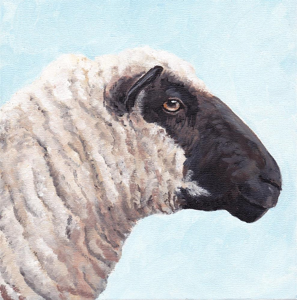 """Black Face Sheep Profile"" original fine art by Charlotte Yealey"