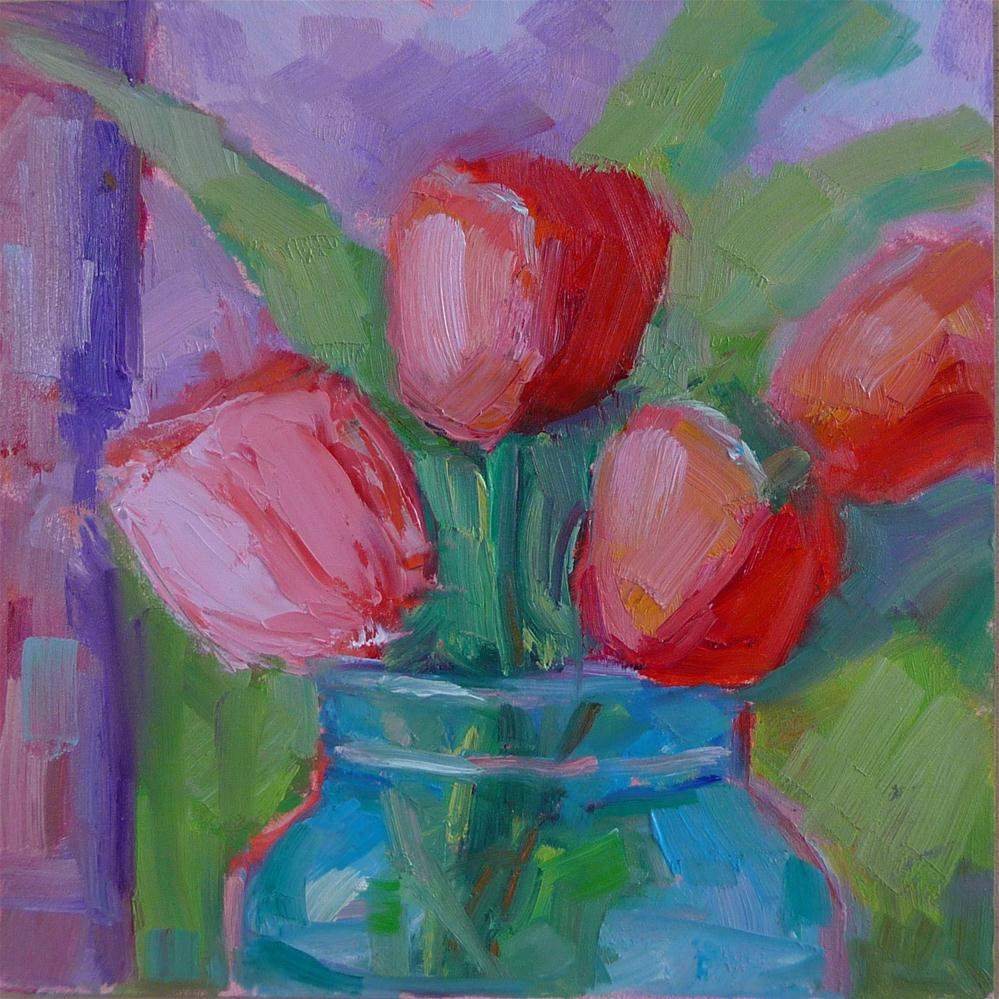 """Pink tulips in blue jar"" original fine art by Carol Josefiak"