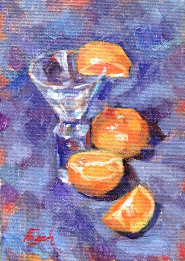 """A Shot Glass and Mandarin Oranges"" original fine art by Audra Esch"