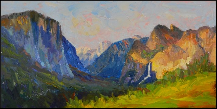 """Inspiration Point, 10x20, oil on linen, paintings of Yosemite, Inspiration Point, Maryanne Jacobse"" original fine art by Maryanne Jacobsen"