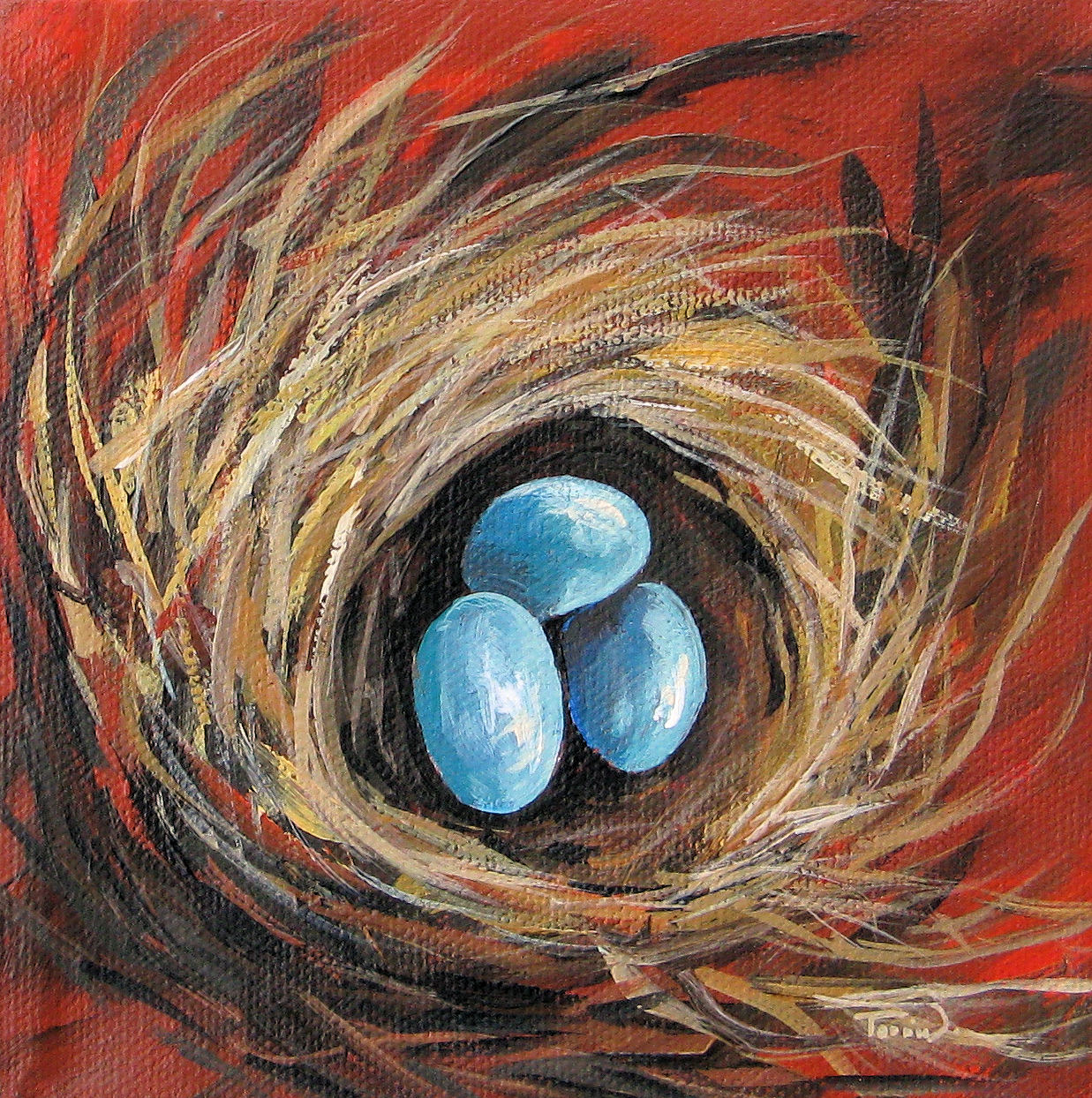 """Bird Nest on Red"" original fine art by Torrie Smiley"