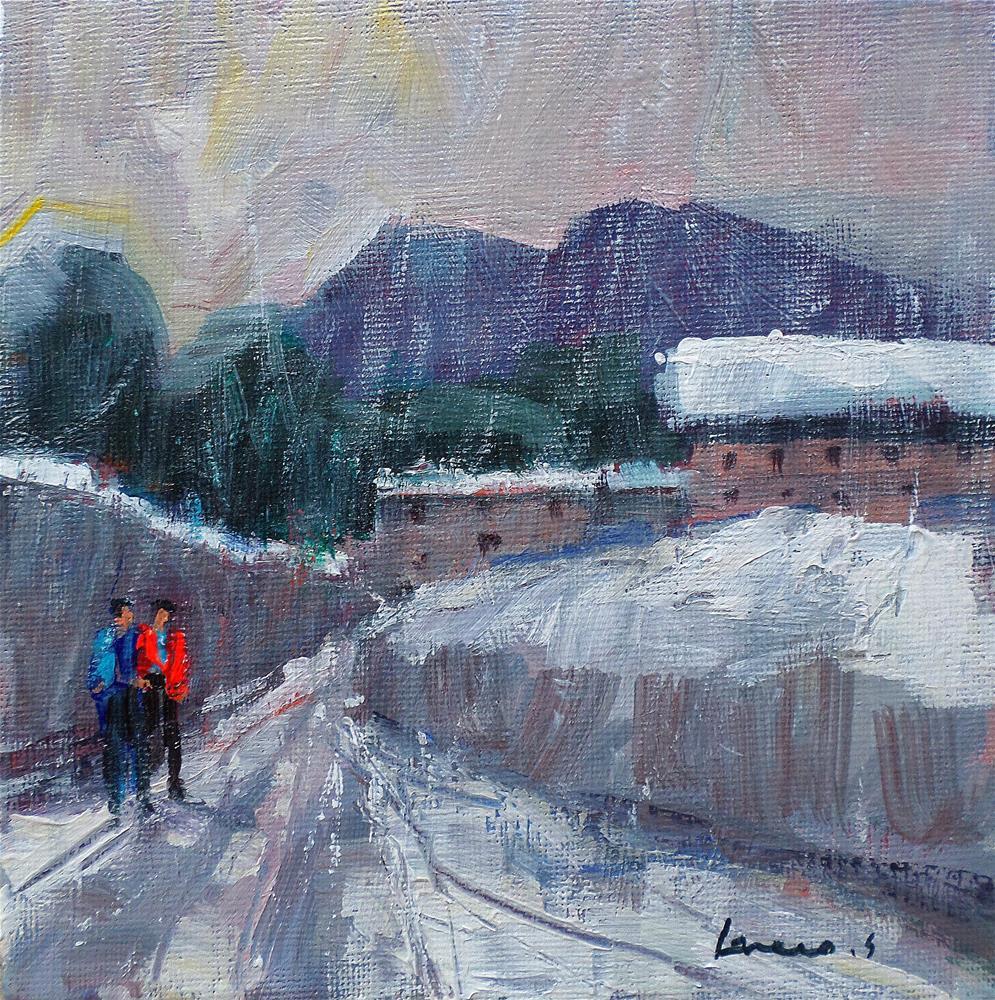 """""""Snowfall in the village"""" original fine art by salvatore greco"""