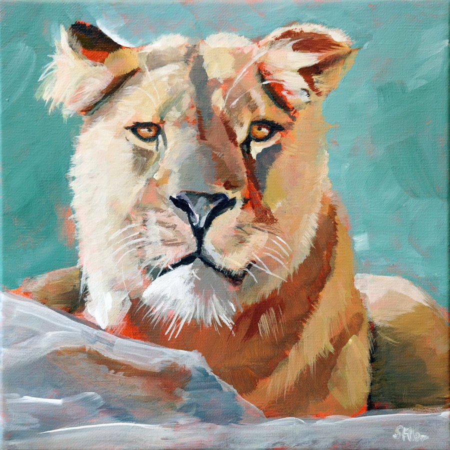 """1040 The Lion Challenge"" original fine art by Dietmar Stiller"