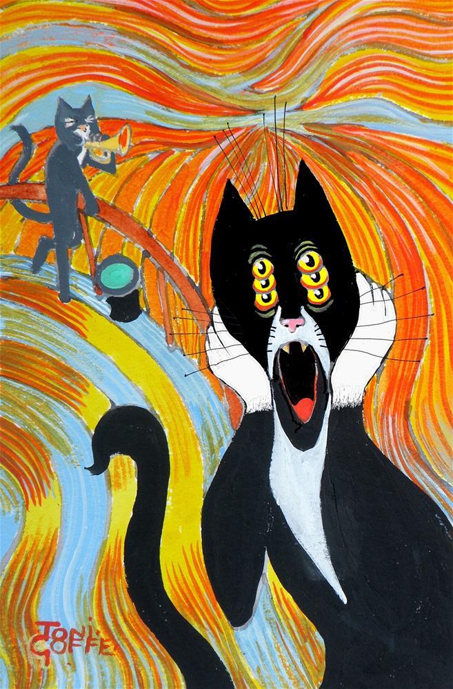 """Edvard Munch's Cat"" original fine art by Toni Goffe"