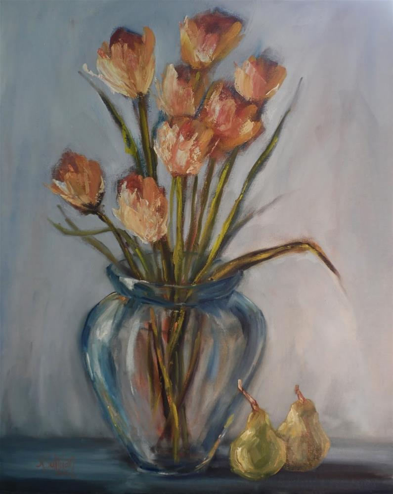 """Eight Peared still life floral by Alabama Artist Angela Sullivan"" original fine art by Angela Sullivan"
