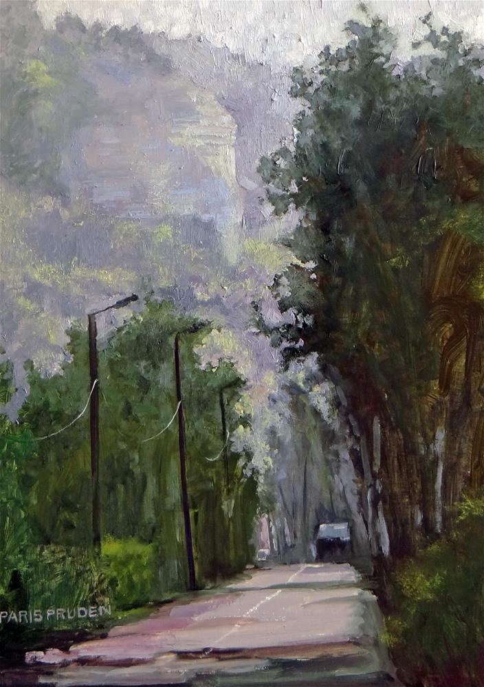 """""""Misty Road in France"""" original fine art by Nancy Paris Pruden"""